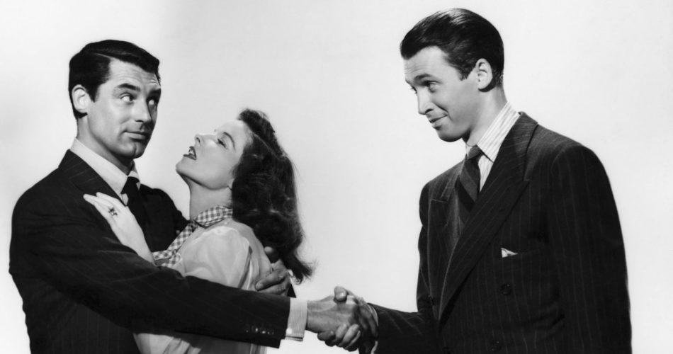 """Cary Grant, Katharine Hepburn i James Stewart w filmie """"Filadelfijska opowieść"""" (reż. George Cukor, 1940)"""