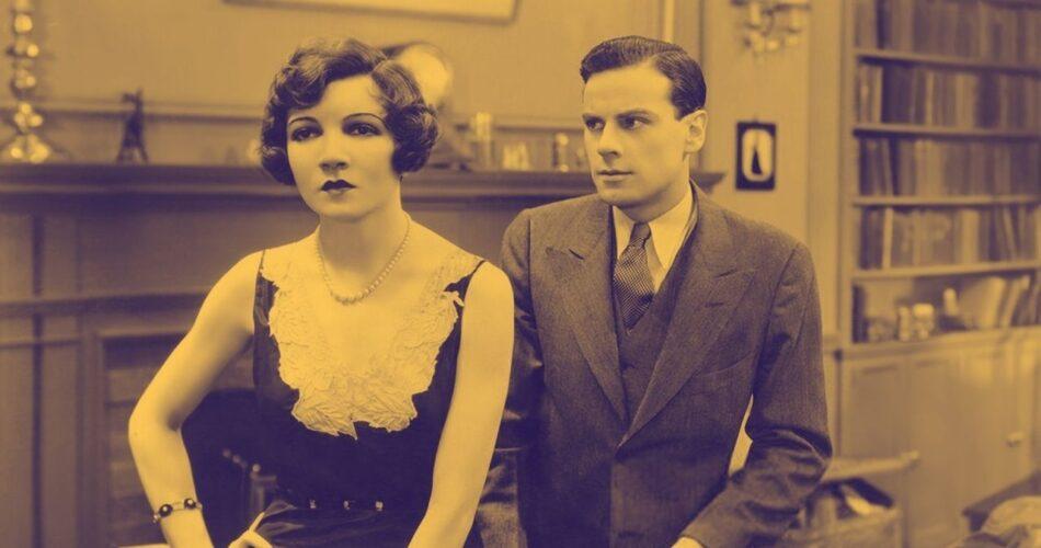 "Claudette Colbert i Norman Foster w filmie ""Młodzi z Manhattanu"" (reż. Monta Bell, 1930)"