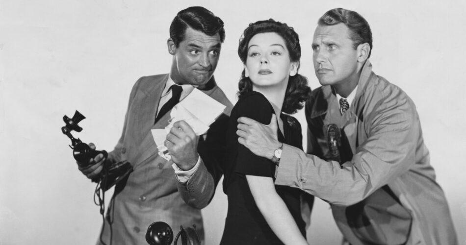 """Cary Grant, Rosalind Russell i Ralph Bellamy w filmie """"Dziewczyna Piętaszek"""" (reż. Howard Hawks, 1940)"""