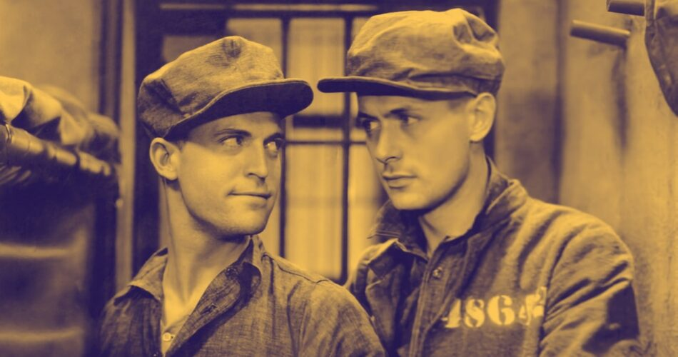 "Chester Morris i Robert Montgomery w filmie ""Szary dom"" (reż. George W. Hill, 1930)"