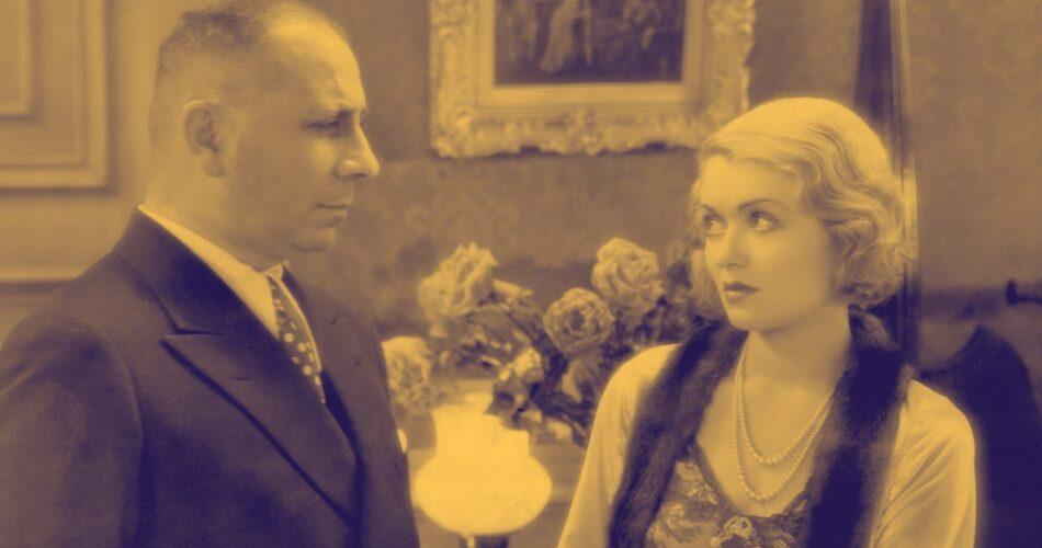"""Erich von Stroheim i Constance Bennett w filmie """"Trzy twarze Wschodu"""" (reż. Roy Del Ruth, 1930)"""